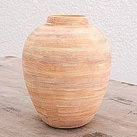 Ceramic vase, 'Textured Illusion' - Textured Rustic Ceramic Vase Crafted in Guatemala