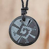 Jade pendant necklace, 'Hunab Ku' - Hunab Ku Symbol Dark Green Jade Pendant Necklace