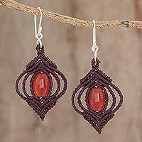 Agate dangle earrings, 'Red-Orange Eyes' - Red-Orange Agate with Hand-Knotted Cord Dangle Earrings