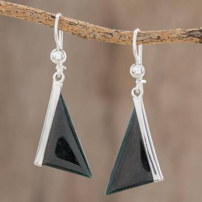 Jade dangle earrings, 'Triangular in Dark Green' - Dark Green Triangular Jade Dangle Earrings from Guatemala