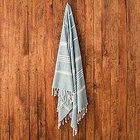 Cotton beach towel, 'Sweet Relaxation in Teal' - Striped Cotton Beach Towel in Teal from Guatemala