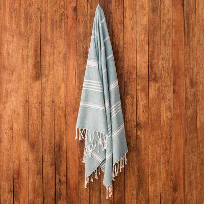 Cotton beach towel, 'Fresh Relaxation in Teal' - Striped Cotton Beach Towel in Teal from Guatemala