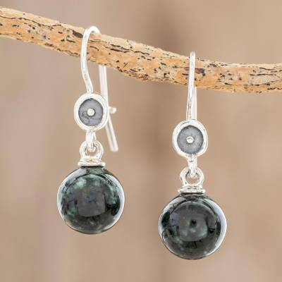 Jade dangle earrings, 'Magic Orbs' - Dark Green Jade Dangle Earrings from Guatemala