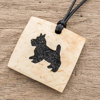 Coconut shell and lava stone pendant necklace, 'Schnauzer Square' - Coconut Shell and Lava Stone Schnauzer Pendant Necklace