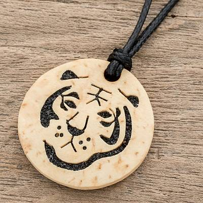 Coconut shell and lava stone pendant necklace, 'Tiger Face' - Coconut Shell and Lava Stone Tiger Pendant Necklace