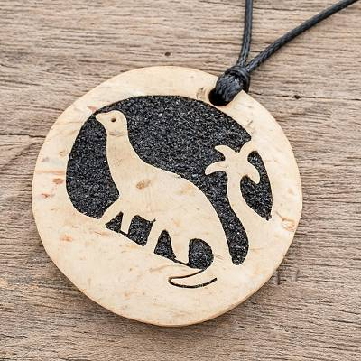 Coconut shell and lava stone pendant necklace, 'Diplodocus' - Coconut Shell and Lava Stone Diplodocus Pendant Necklace