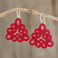 Hand-tatted dangle earrings, 'Petal Essence in Cherry' - Hand-Tatted Triangular Dangle Earrings in Cherry