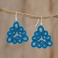 Hand-tatted dangle earrings, 'Petal Essence in Azure' - Hand-Tatted Triangular Dangle Earrings in Azure
