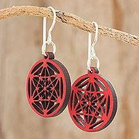 Recycled wood dangle earrings, 'Stellar Magic in Red' - Star Pattern Recycled Wood Dangle Earrings in Red