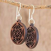 Recycled wood dangle earrings, 'Stellar Magic in Dark Brown' - Star Pattern Recycled Wood Dangle Earrings in Dark Brown