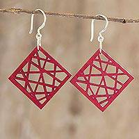 Recycled wood dangle earrings, 'Geometric Composition' - Geometric Recycled Wood Dangle Earrings in Red