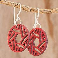 Recycled wood dangle earrings, 'Circular Imagination' - Circular Recycled Wood Dangle Earrings in Red from Guatemala