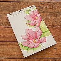 Hand painted journal, 'Pink Blossoms' (8 inch) - Pink Flora Journal with Recycled Paper (8 in.)