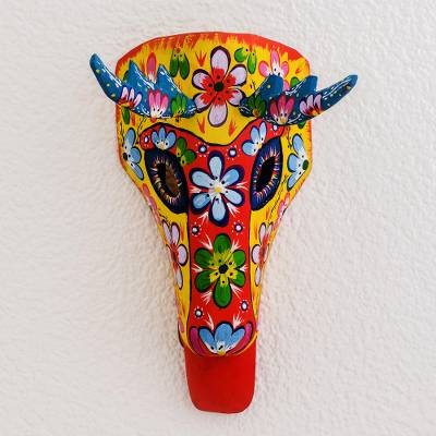 Wood mask, Floral Deer in Yellow