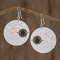 Jade dangle earrings, 'Modern Saturn in Aluminum' - Modern Jade Dangle Earrings with Aluminum Circles