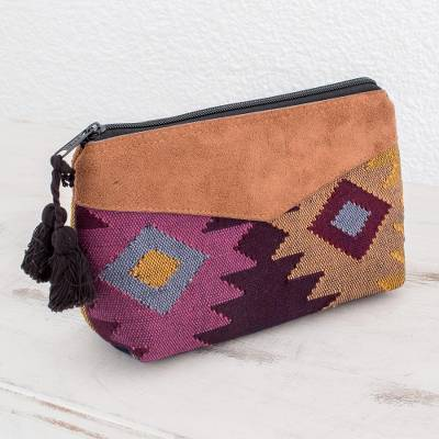 Cotton cosmetic bag, 'Geometric Femininity' - Geometric Cotton Cosmetic Bag with Faux Leather Accent