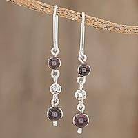 Garnet dangle earrings, 'Lovely Passion' - Round Garnet Dangle Earrings Crafted in Guatemala