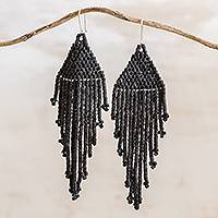 Ceramic beaded waterfall earrings, 'Delightful Cascades in Black' - Ceramic Beaded Waterfall Earrings in Black from Guatemala
