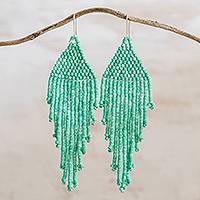 Ceramic beaded waterfall earrings, 'Delightful Cascades in Green' - Ceramic Beaded Waterfall Earrings in Green from Guatemala