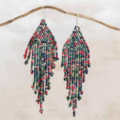 Ceramic beaded waterfall earrings, 'Fascinating Cascades' - Colorful Ceramic Beaded Waterfall Earrings from Guatemala