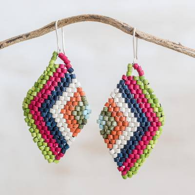 Ceramic beaded dangle earrings, 'Rhombus Vibration' - Colorful Ceramic Beaded Dangle Earrings from Guatemala