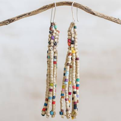 Ceramic beaded waterfall earrings, 'Wonderful Harmony in Ivory' - Ceramic Beaded Waterfall Earrings in Ivory from Guatemala