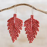Ceramic beaded dangle earrings, 'Elegant Wind in Chili' - Leaf-Shaped Ceramic Beaded Dangle Earrings in Chili