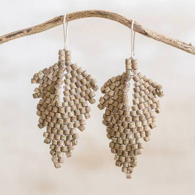 Ceramic beaded dangle earrings, 'Elegant Wind in Taupe' - Leaf-Shaped Ceramic Beaded Dangle Earrings in Taupe