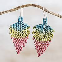 Ceramic beaded dangle earrings, 'Elegant Spring' - Ceramic Beaded Dangle Earrings from Guatemala