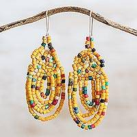 Ceramic beaded dangle earrings, 'Beautiful Garlands in Yellow' - Garland Pattern Ceramic Beaded Dangle Earrings in Yellow