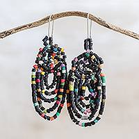Ceramic beaded dangle earrings, 'Beautiful Garlands in Black' - Garland Pattern Ceramic Beaded Dangle Earrings in Black