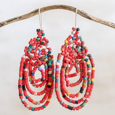 Ceramic beaded dangle earrings, 'Beautiful Garlands in Red' - Garland Pattern Ceramic Beaded Dangle Earrings in Red