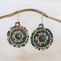 Jade and ceramic beaded dangle earrings, 'Cultural Essence' - Jade and Colorful Ceramic Beaded Dangle Earrings