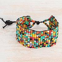 Ceramic beaded wristband bracelet, 'Colorful Cascade' - Colorful Ceramic Beaded Wristband Bracelet from Guatemala