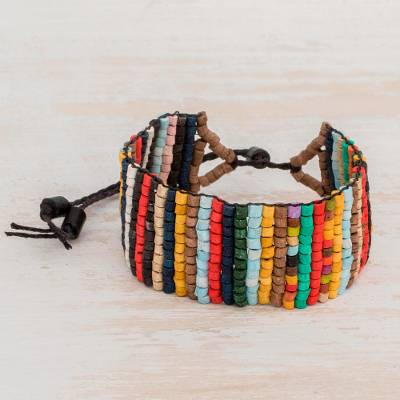 Ceramic beaded wristband bracelet, 'Striking Stripes' - Striped Ceramic Beaded Wristband Bracelet from Guatemala