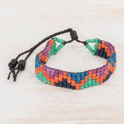 Ceramic beaded wristband bracelet, 'Volcanoes of My Land' - Colorful Zigzag Ceramic Beaded Wristband Bracelet