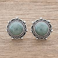 Jade button earrings, 'Sunrise in Antigua' - Green Jade Button Earrings Crafted in Guatemala