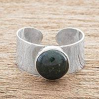 Jade single-stone ring, 'Maya Wrap in Dark Green' - Dark Green Jade Single-Stone Ring from Guatemala