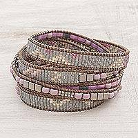 Glass beaded wrap bracelet, 'Mesa in Bloom' - Light Grey and Pink and Lilac Glass Bead Wrap Bracelet