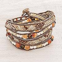 Glass beaded wrap bracelet, 'Desert Dreams' - Handcrafted Brown Orange and White Glass Bead Wrap Bracelet