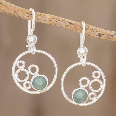 Jade dangle earrings, 'Form and Color' - Circle Motif Jade Dangle Earrings from Guatemala