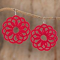 Hand-tatted dangle earrings, 'Floral Roulette in Poppy' - Circle Motif Hand-Tatted Dangle Earrings in Poppy