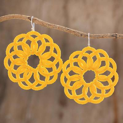 Hand-tatted dangle earrings, 'Floral Roulette in Marigold' - Circle Motif Hand-Tatted Dangle Earrings in Marigold
