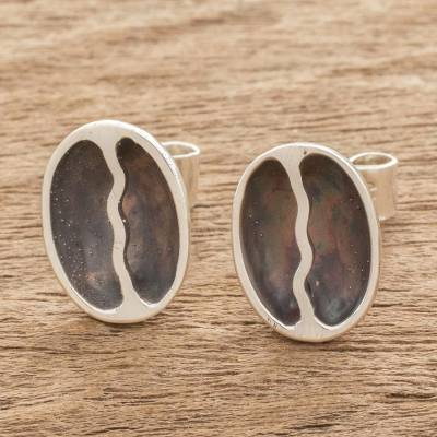 Sterling silver stud earrings, 'Rain of Coffee' - Sterling Silver Coffee Bean Dangle Earrings from Guatemala