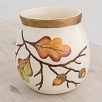 Ceramic vase, 'Breath of Autumn' - Ceramic Vase with Hand-Painted Leaf Motifs from Guatemala