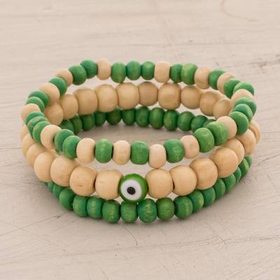 Wood beaded stretch bracelets, 'Natural Friendship' (set of 3) - Green and Brown Wood Beaded Stretch Bracelets (Set of 3)