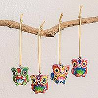 Ceramic ornaments, 'Wise Friends' (set of 4) - Hand-Painted Ceramic Owl Ornaments from Guatemala (Set of 4)