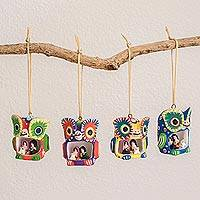 Ceramic ornaments, 'Owl Nativity' (set of 4) - Owl-Shaped Ceramic Nativity Ornaments (Set of 4)