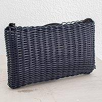 Recycled plastic cosmetic bag, 'Eco Weave in Navy' - Handwoven Recycled Plastic Cosmetic Bag in Navy