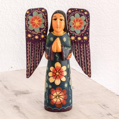 Wood sculpture, 'Humble Prayer' - Floral Wood Praying Angel Sculpture from Guatemala